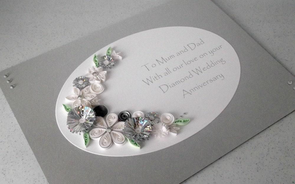 quilled 60th diamond wedding anniversary card handmade paper