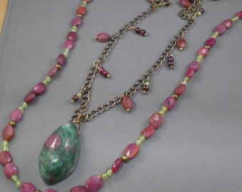 Ruby in Zoisite Beaded Necklace