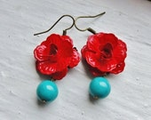 Red and Turquoise Earrings. Bridal Jewelry Red Flower Earrings. Bridesmaid Jewelry. Flower Earrings. Bridesmaid Earrings. Wedding Jewelry.