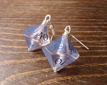 elf dice earrings elvish D100 dice see through blue inscriptions elvish runes transparent tolkien fantasy dungeons and dragons pathfinder