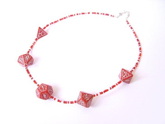 dice necklace geekery jewelry elven dice die red white inscriptions geek rpg elf runes elvish dice red white fantasy