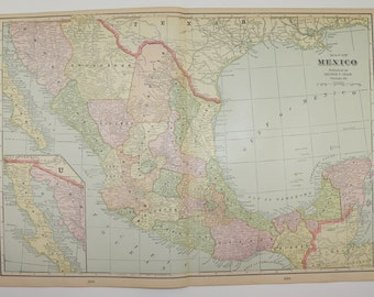 Vintage Map of Mexico 1902 Travel Map, Vacation Gift, Gulf of Mexico Map, Antique Wall Art, Mexican Decor Gift for Couple, Gift for Coworker