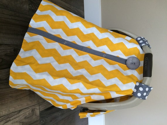 Carseat Cover Yellow and Grey / car seat cover / nursing cover / carseat canopy / carseat cover
