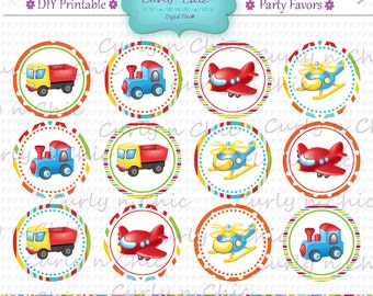 "INSTANT DOWNLOAD -2"" Toppers -Trucks Party Favor Toppers-  -Printable Birthday Party Tag -Transport Cupcake Toppers"