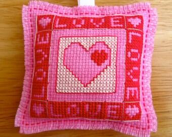 Handmade Love Valentine Cross Stitch Hanging Ornament Home Decor Unscented