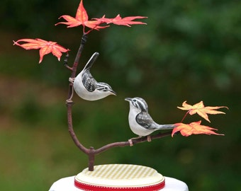 Brown Creeper Love Birds on Autumn Maple Branch Cake Topper
