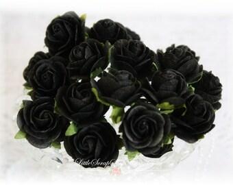 Mulberry Roses~Black~ Set of 20 for Scrapbooking, Cardmaking, Altered Art, Wedding, Mini Album