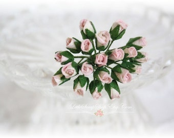 Tiny Rose Buds Shabby  Pink Set of 20 for Scrapbooking, Cardmaking, Altered Art, Wedding, Mini Album