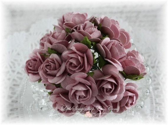 Mulberry Roses~Lavender Bliss~ Set of 20 for Scrapbooking, Cardmaking, Altered Art, Wedding, Mini Album