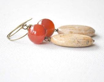 Large Agate Drop Earrings, Ridged Jasper Dangle Earrings, Stone Beaded Earrings