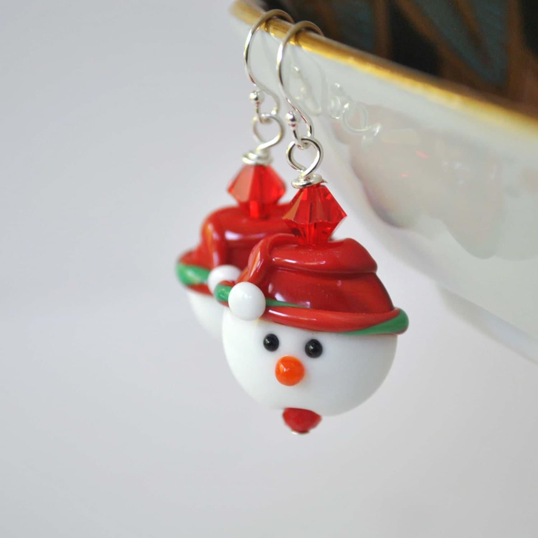 Snowman earrings christmas jewelry lampwork glass