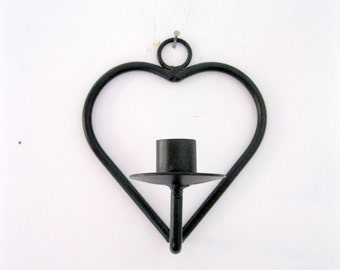 Heart Candle Holder, Cast Iron Candle Holder, Black Holder, Minimilist Decor, by mailordervintage on etsy