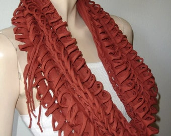 scarf  infinity scarf  eternity scarf Fluffy Rust cocoa brown Shredded Infinity Scarves Wholesale