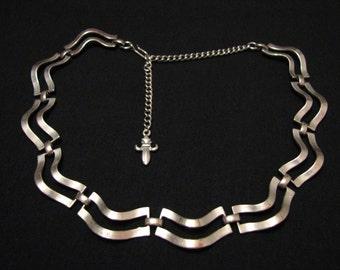 Vintage Vendome Silver Tone Wave Link Choker Necklace