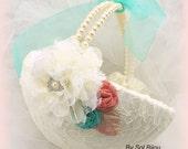 Flower Girl Basket, Ivory, Cream, Coral, Aqua blue, Turquoise, Elegant Wedding, Pearl Handle, Lace, Crystals, Vintage Style, Elegant, Round