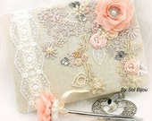 Guest Book, ivory, Blush, Pink, Coral, Tan, Champagne, Elegant Wedding, Signature Book, Signing Pen, Pearls, Linen, Lace, Crystals, Vintage