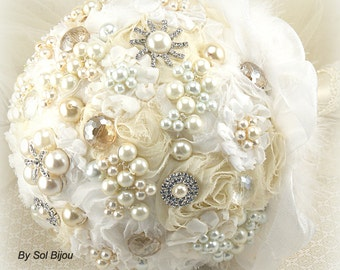 Brooch Bouquet, Pearl Bouquet, White, Cream, Ivory, Elegant Wedding, Vintage Style, Gatsby, Bridal, Jeweled, Fabric, Crystals, Pearl
