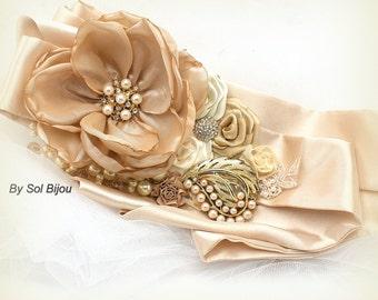 Gold Sash, Tan, Beige, Ivory, Bridal Sash, Wedding Sash, Champagne, Pearls, Crystals, Vintage Brooch, Satin, Vintage, Gatsby Wedding