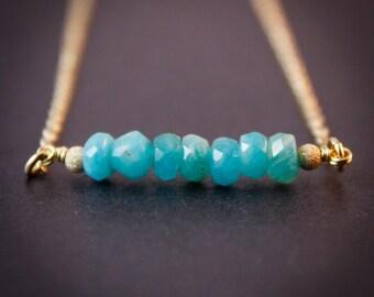 Blue Amazonite Necklace - Amazonite Jewelry - 14K GF