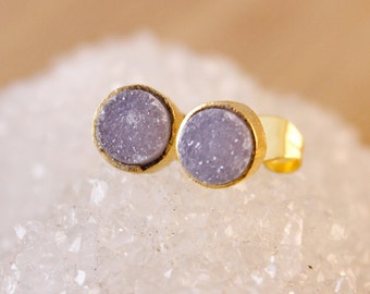 Dusty Pink Druzy Post Earrings - Round Studs - Minimalist Jewelry