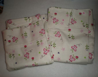 Butterflies and Flowers Flannel Pillowcase Set for Standard Size Bed Pillows