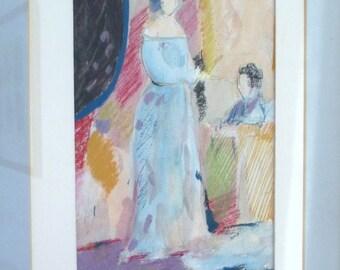 PASTEL Art - Wall Hanging  - Framed - Feminine - Two Women - Artwork - Romantic - Boudoir Art - Hair Salon Art - Shabby Chic - Girls Room