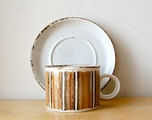 Vintage Organic 1970s Midwinter Earth Tea or Coffee Cup and Saucer Plate in Brown Stripes with Specks..