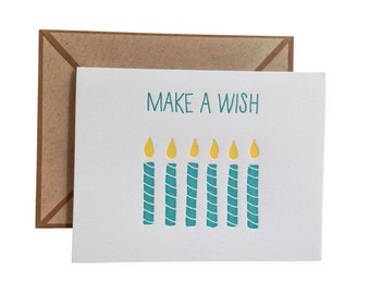 Make A Wish letterpress card - single