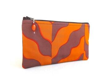 Orange Wavy Chevron Zippered Pouch / Beaded Zipper Pull - READY TO SHIP