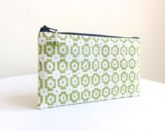 Lime Green & White Medallion Clutch / Zipper Bag - READY TO SHIP