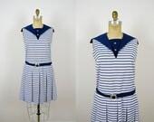 vintage 1950s dress 50s sailor sailorette dress drop waist navy blue striped cotton nautical dress