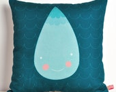 decorative throw pillow for kids room in dark blue with big turquoise raindrop - 12 inch / 30 cm