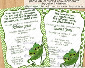 Twin Peas in a Pod Baby Shower Invitations / sweet pea green chevron boy girl neutral twins multiples / DIGITAL INVITATION / #ISMO-0141