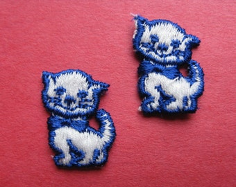 blue kitty patch embroidered cat appliqué kawaii kitten patch pair new old stock