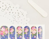 Haute High Tea Nail Wraps - Pink Roses / Blue Background