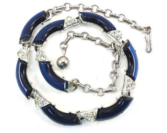 Art Deco Midnight Blue Curved Lucite and Rhinestone Choker Style Vintage 1940s Necklace
