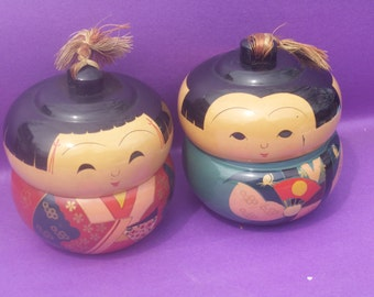 Japanese People Jars Brought Back From Korean War in Wooden Box/ Reduced