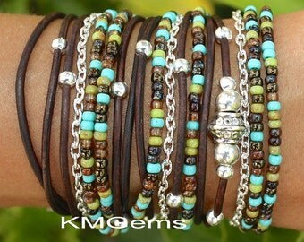 TURQUOISE Boho Leather Wrap Chain Bracelet - Leather Triple Wrap Bracelet w/ Picasso Miyuki / Silver accents -Custom  Pick SIZE / COLOR   89