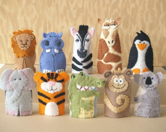 Zoo Animal Finger Puppets (Choose 4)