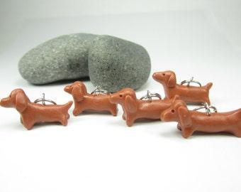 Dachshund Stitch markers (set of 5) polymer clay dog stitch markers red dachshund