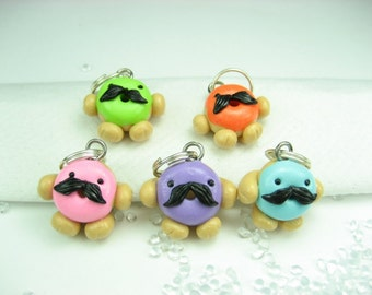 Master of Disguise Donut Mustache Stitch Markers (set of 5) food knitting polymer clay