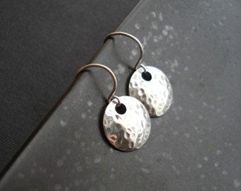 Hammered Large Coin Earrings In Sterling Silver Circle Earring Dangle Earrings Modern Minimalist Earrings