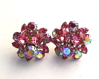 Vintage Clips earrings Pink Aurora Borealis Swarovski Crystals earrings Circa 1950s