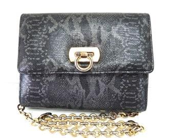 Authentic Snake Leather Clutch handbag Gold Chain Shoulder Bag