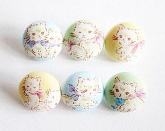 Cat Buttons Sewing Buttons / Fabric Buttons - Sweet Kittens - 6 Medium Fabric Buttons