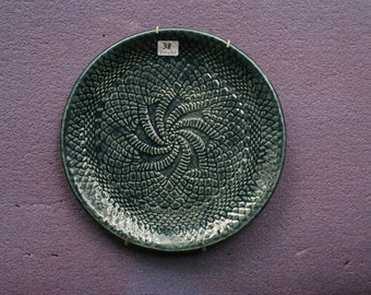 Green-Blue, Pottery, Plate with Swirly Texture