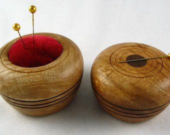 Wooden Magnetic Needle Keeper and Pin Cushion Set - Handmade by Greg Hanson