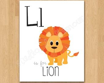 "PRINTABLE PDF Instant Download ""L is for Lion"" Kids Print"