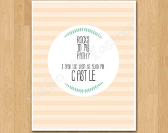 """PRINTABLE PDF Instant Download """"Rocks in my Path?"""" Quote Print"""