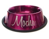 Name on Dog Bowl - Engraved - Custom - Etched - Personalized - Food Bowl - Water - Pink - Magenta